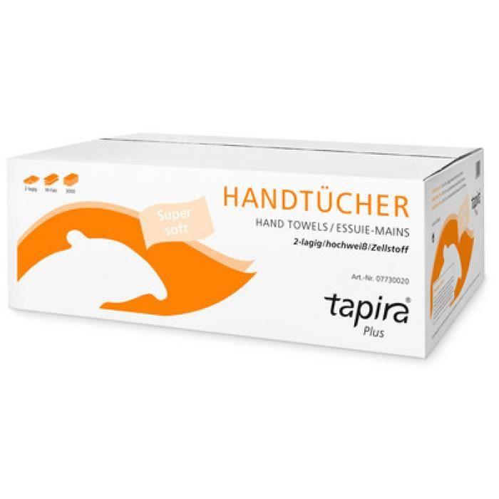 Tapira Essuie-mains Plus, 203x320 mm, plié en W, extra blanc 0,000000 Noir