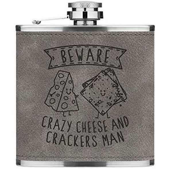 Attention Crazy Fromage Et Pétards Homme 170ml Cuir PU Hip Flasque Gris Luxe