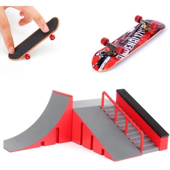 AumoToo Rampes de Skatepark, Skate Park Kit Rampe de Touche avec Mini Finger Skateboard Jouet Cadeau pour Les Enfants (C)7