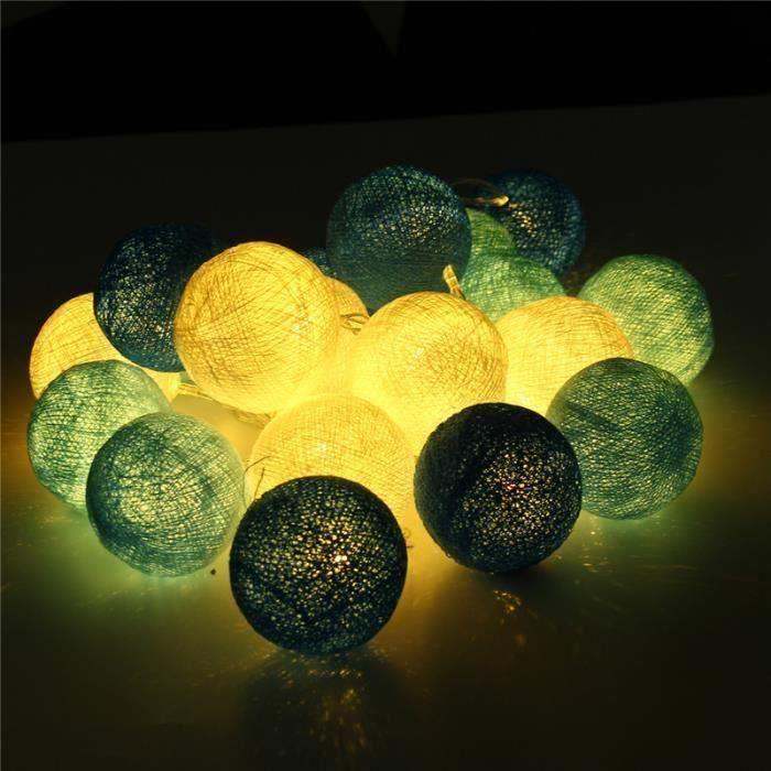 2.3M 20LED Guirlande lumineuse a pile DIY coton boule mariage fête noël décor(SANS piles) BLEU Ve11654