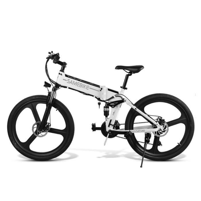 Vélo électrique pliant 26 pouces 350 W 25 km/h Vélo de ville trekking VTT avec batterie au lithium 48V 10AH 21 vitesses frein à disq