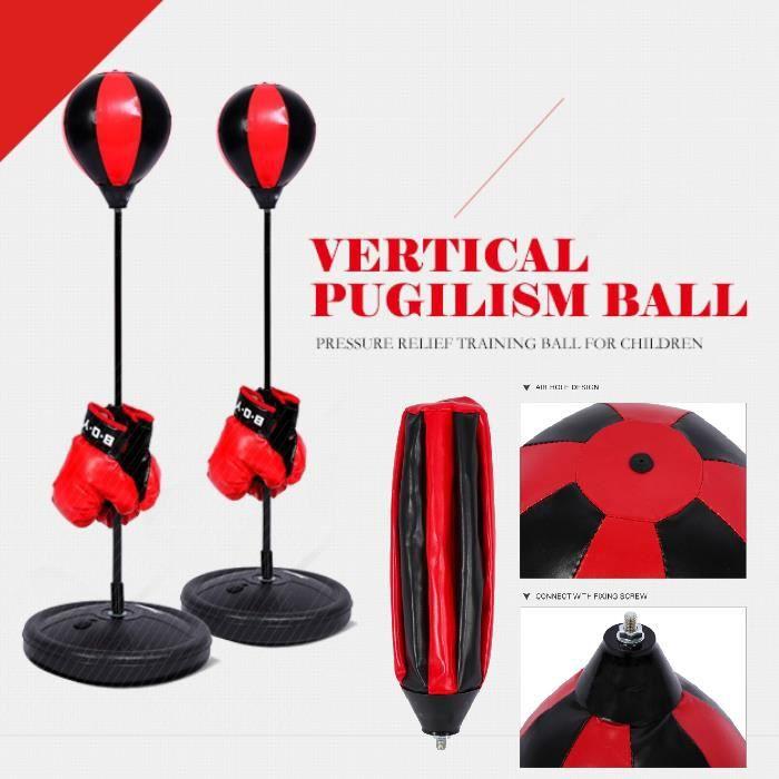 Set Sac de Frappe Boxe - Punching Ball Pour Enfants- Avec Gants de Boxe et Pompe +Base 70cm ~ 105cm HB010