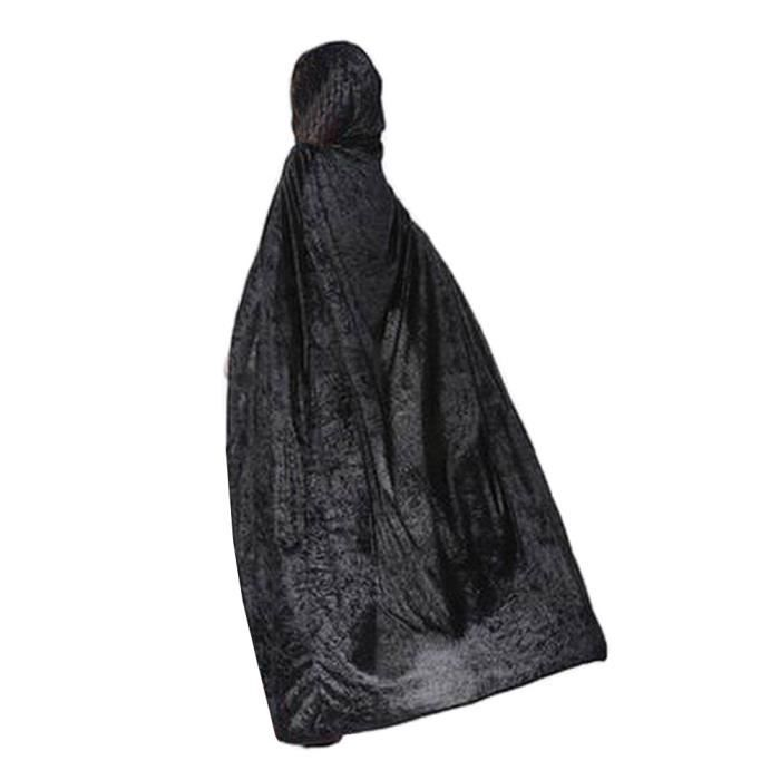 [170cm noir] Halloween capuche Cape Party Cape en velours cosplay