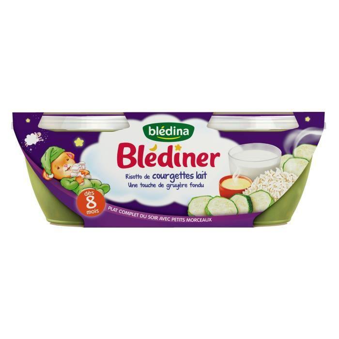 BLEDINA Blédîner Risotto de courgettes lait gruyère fondu 2x200 g - Dès 8 mois