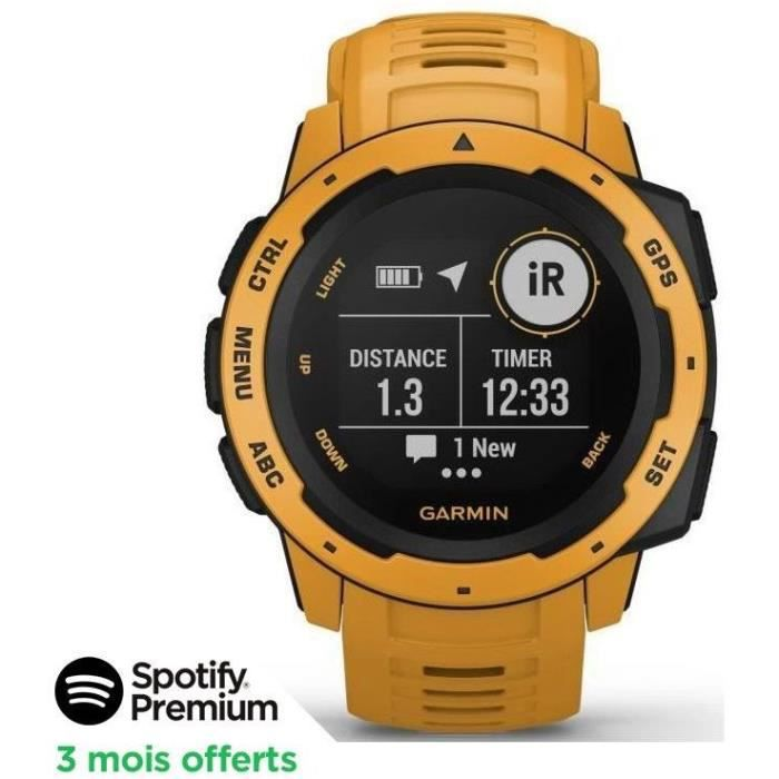 [SPOTIFY PREMIUM - 3 MOIS OFFERTS]Garmin Instinct®- Montre GPS robuste - Jaune