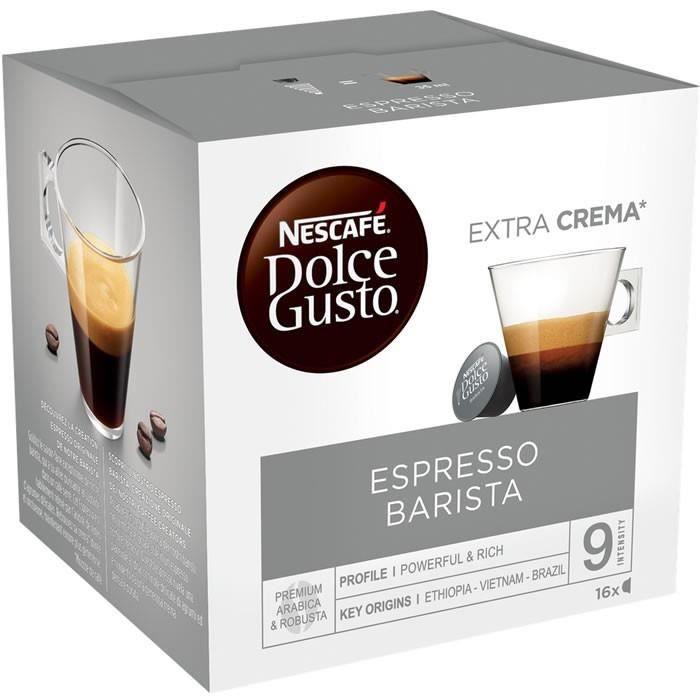 LOT DE 4 - Dolce Gusto - 16 Capsules de café Espresso Barista 120 g