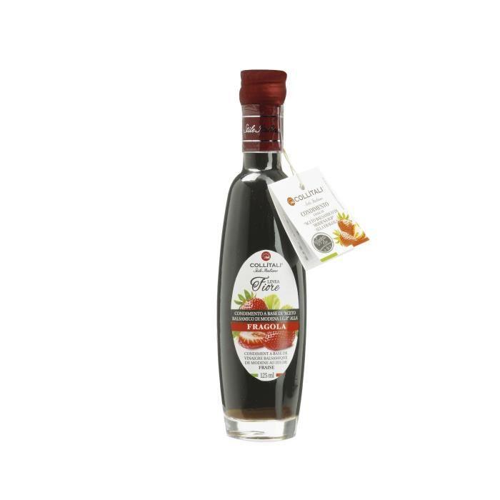 COLLITALI Bouteille -poignée design- FIORE vinaigre balsamique aromatisation naturelle fraise - 125 ml