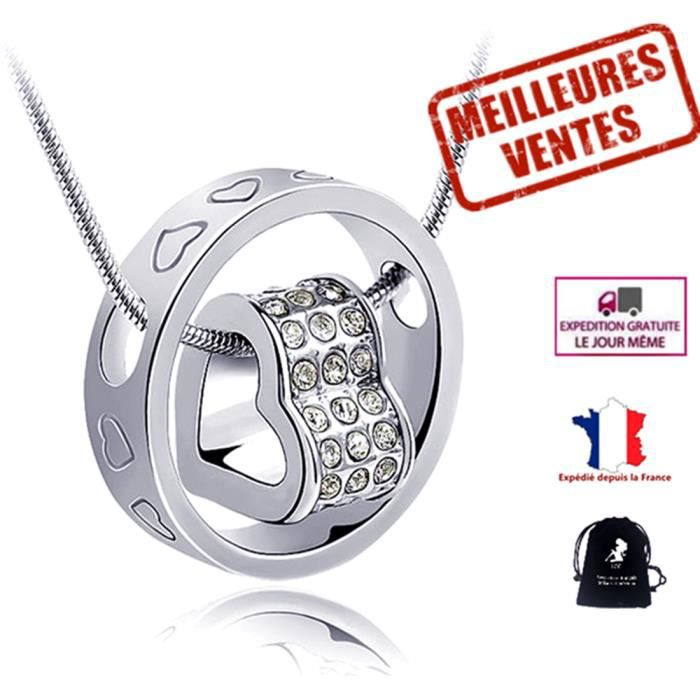 LCC® Collier bijoux femmes filles anneau coeur fantaisie cristal swarovski diamants en strass Plaqué Cuivre blanc cadeau st valentin