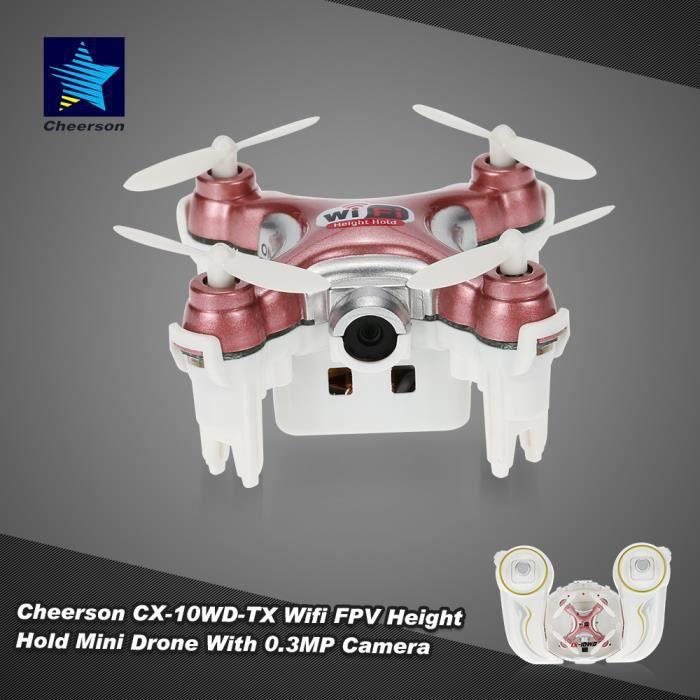 Original Cheerson CX-10WD-TX Mini RC Drone 2.4GHz 4CH 6-axes Wifi FPV 3D Eversion avec 0.3MP Caméra