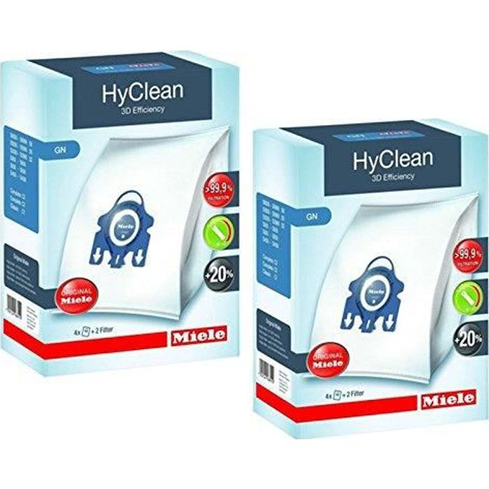 Miele - Sac Hyclean GN véritables pour aspirateurs C2 C3 Cat & Dog PowerLine Silence EcoLine + filtres (2 boîtes) EBY9917730X
