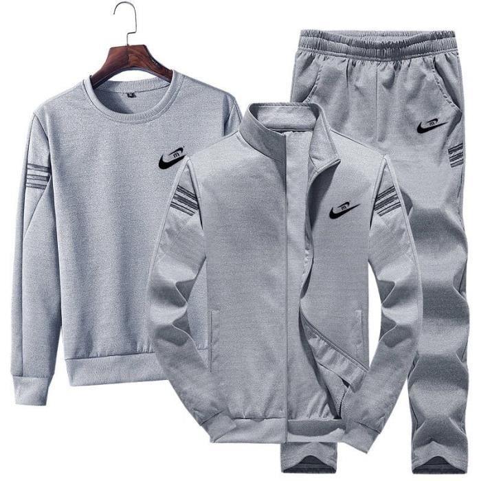 Survêtement Homme 3 Pièces Jogging Ensemble à Manches Longues Zippé Sport Décontracté Sportswear