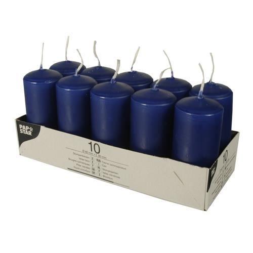 Bougies cylindriques Ø 40 mm · 90 mm bleu foncé