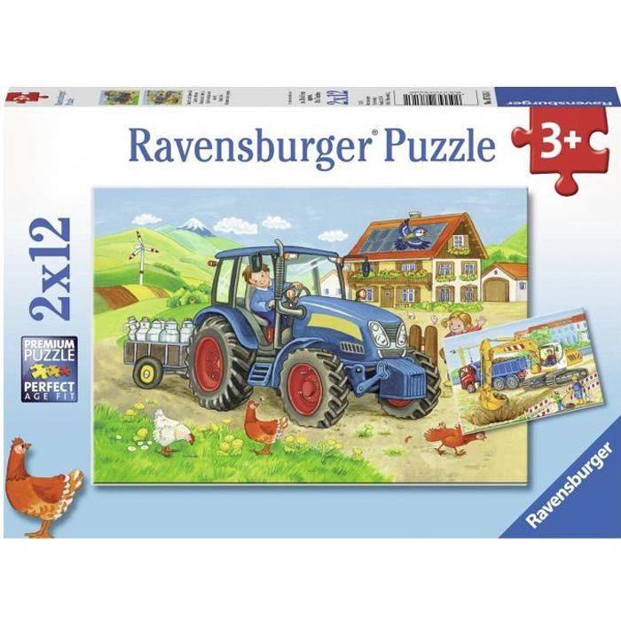 Puzzles 2x12 pièces - Chantier et ferme - Ravensburger - Lot de puzzles enfant - Dès 3 ans
