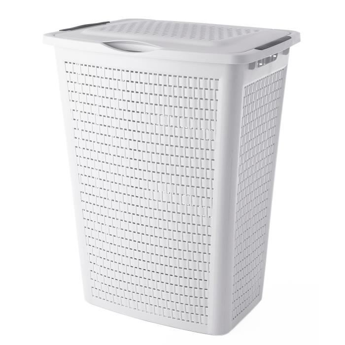 Coffre à linges Country - Plastique - Blanc - 50 L
