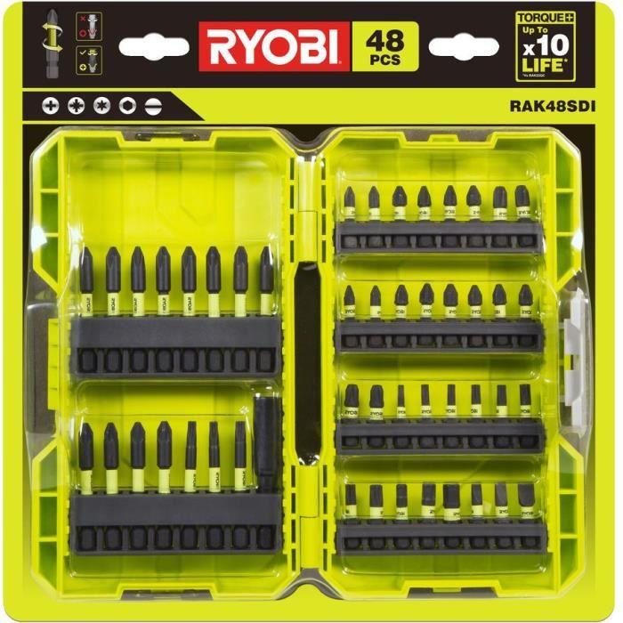 RYOBI RAK48SDI - Coffret antichocs 48 accessoires de vissage