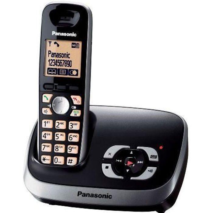 Panasonic Téléphone sans fil KX-TG6521GB avec répondeur Noir (import Allemagne)