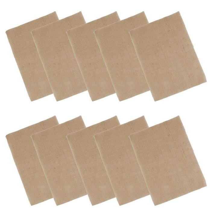 Sets de table en toile de jute Toile de sets de table – 10 (Marron)