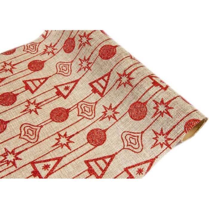 Chemin de table Noël: Naturel et rouge (x1) REF/CH505
