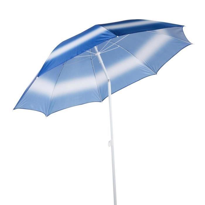 TOM parasol de plage 190 cm polybutène / aluminium blanc/bleu