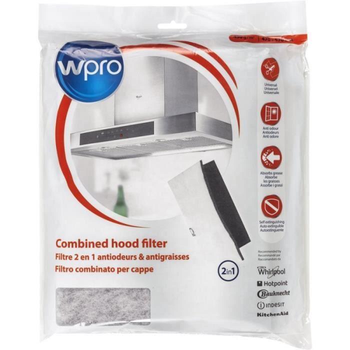 WPRO UCF016 Filtre de Hotte Universel à graisse et à charbon 2 en 1. Dim 470x570 mm. 450g/m2