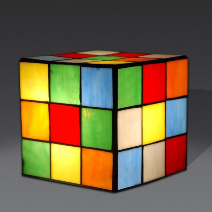 chevet cube rubik lampe de chevet avec abat jour de verre soud de style tiffany achat vente. Black Bedroom Furniture Sets. Home Design Ideas