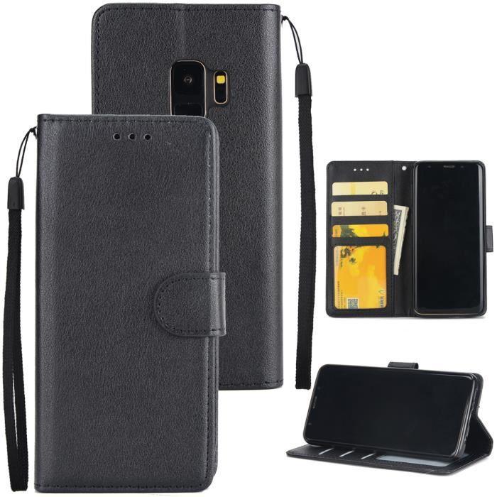 HOUSSE - ÉTUI Housse Samsung Galaxy S9 Noir Étui à rabat avec Su