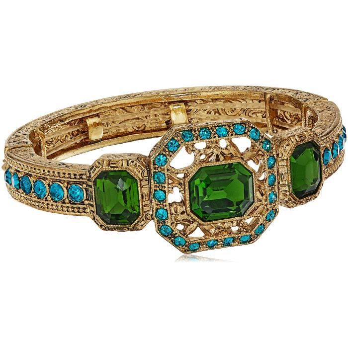 1928 Jewelry Gold-tone Green And Blue Zircon Color Crystal Stretch Bracelet SEV08