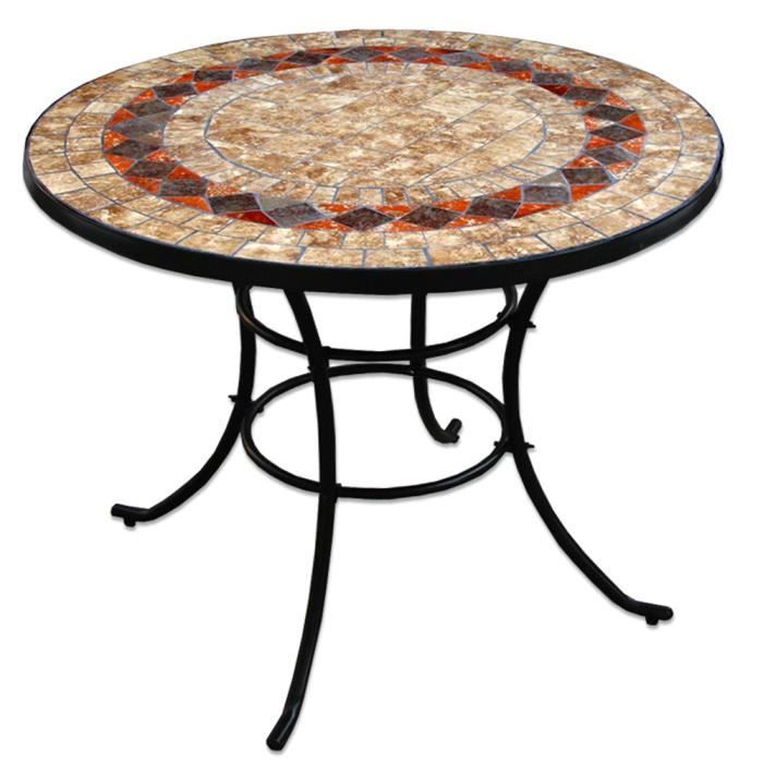 Table ronde 92 ext rieur fer forge et ceramque achat for Table en fer exterieur