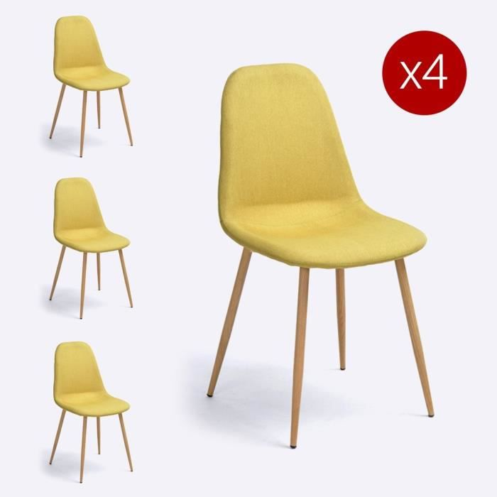 chaise lot de 4 chaises scandinaves charlton jaune tiss - Chaise Jaune Scandinave