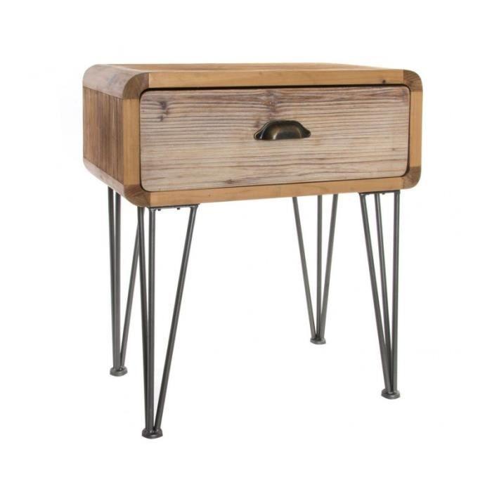 Table De Chevet 1 Tiroir Bois Et Pieds Metal Noir 0 000000 Achat