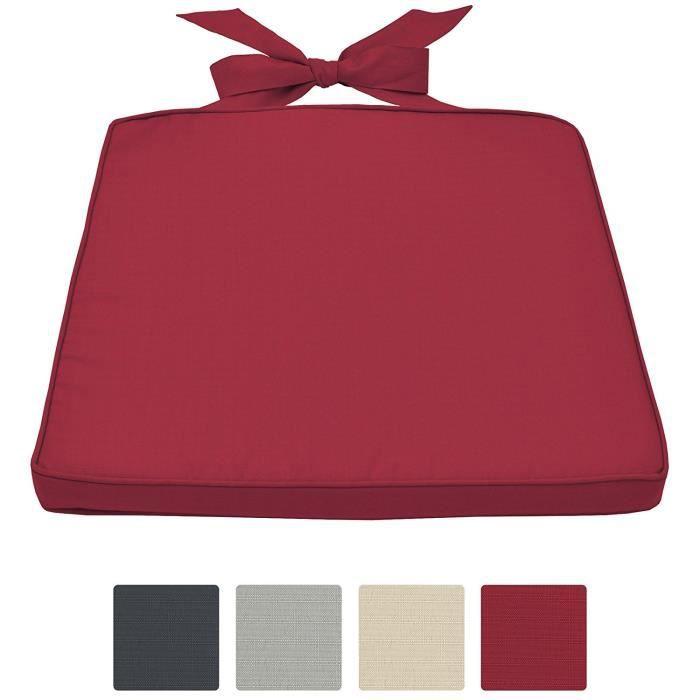 COUSSIN DE CHAISE  Beautissu Galette de chaise Pia 45x40x5cm Rouge -