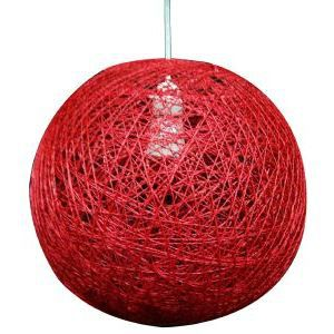 Suspension boule sisal rouge achat vente suspension boule sisal rouge fib - Suspension fibre naturelle ...