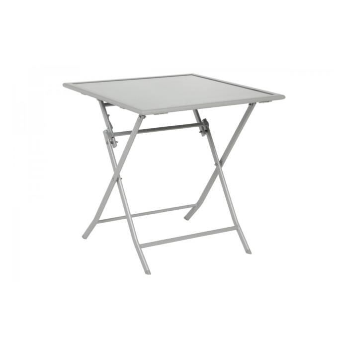 Table pliante d 39 ext rieur carr e 70cm flexia gris silver for Table exterieur pliante