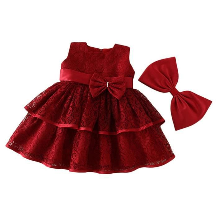 Sheloveit Fete Robes Dentelle Tulle Bebe Fille Rouge Achat Vente Robe Cdiscount