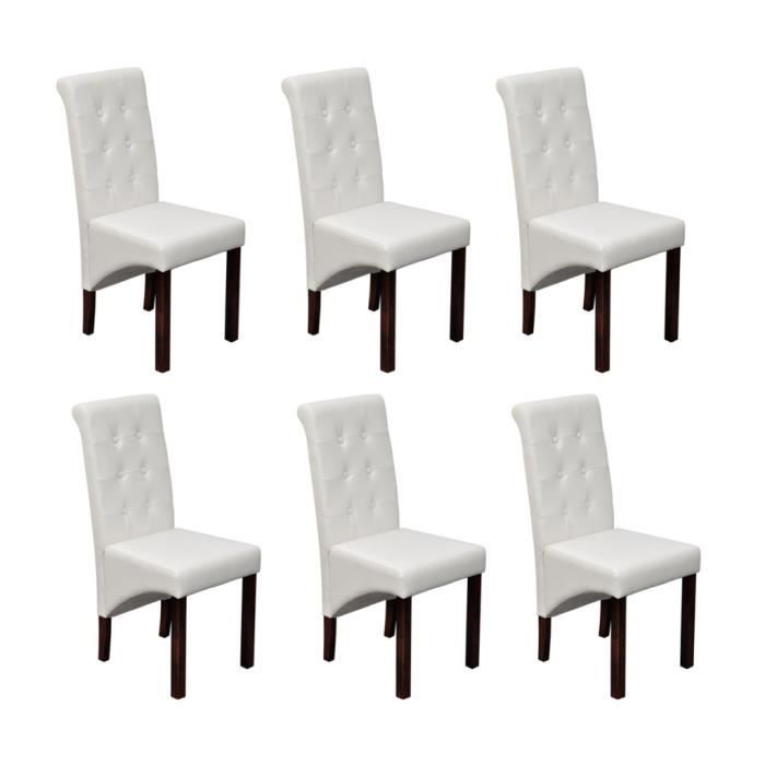 chaise antique simili cuir blanc lot de 6 achat. Black Bedroom Furniture Sets. Home Design Ideas
