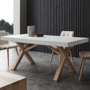 TABLE À MANGER SEULE Table à manger extensible bois et blanc HELIA 2