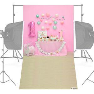 FOND DE STUDIO Photographie Fond Rose Ballon Gâteau Table Toile d