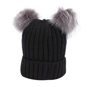Bonnet Ballon Bonnet Hiver Casquette Bonnet deux pompon violet