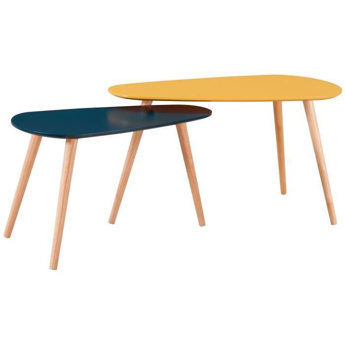 GALET Lot de 2 tables gigognes scandinave jaune moutarde et bleu canard laqués mat - L 81,5 x l 41 cm et L 67 x l 34 cm