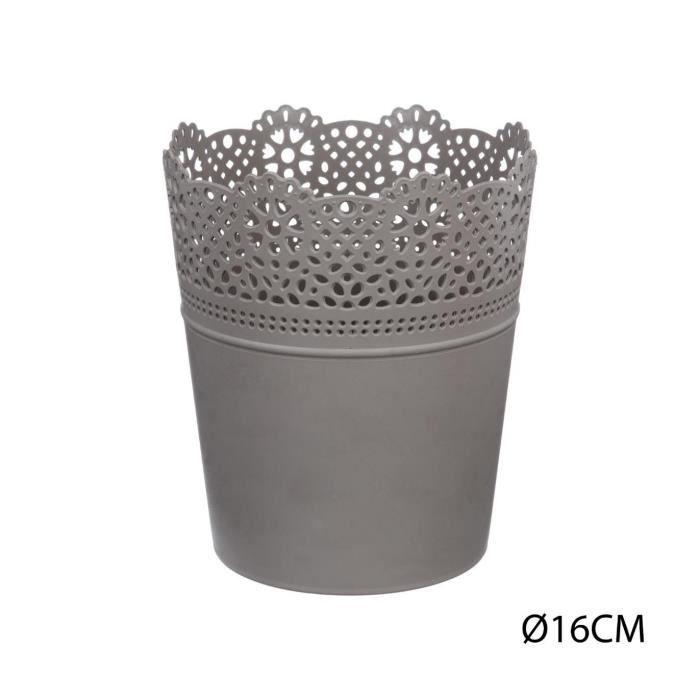 Atmosphera - Pot dentelle en plastique D16 D, 16 x H, 18,5 cm Gris