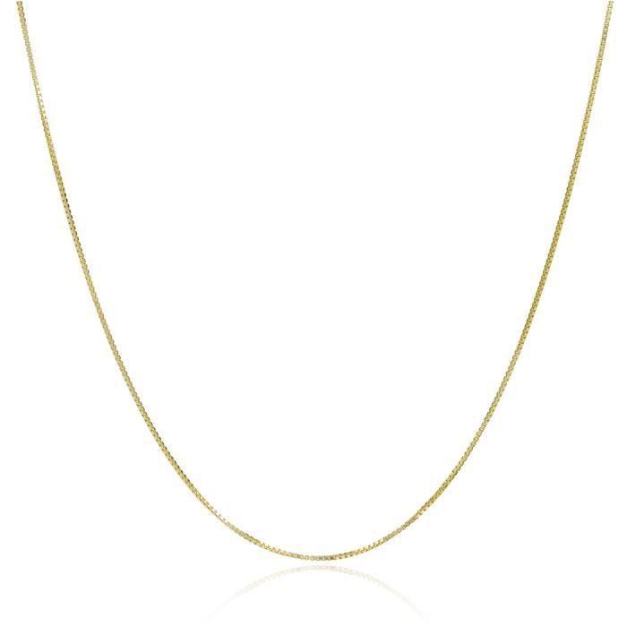 Chaine De Cou Vendue Seule Femmes en or jaune 14k Boîte chaîne vénitienne 0,5 mm L5ONK