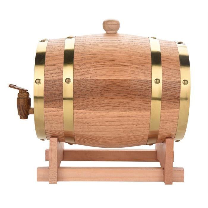 FOREVEN Tonneau de Vin en Bois de Chêne, 3L en Bois de Chêne Tonneau de Vin Vendange pour Port de Bière Whiskey Rum