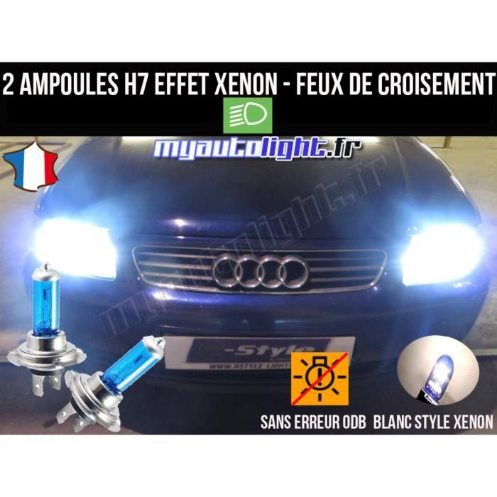 Pack ampoules H7 blanc xenon feux croisement-code pour AUDI A3 8L