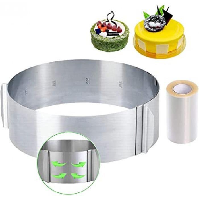 cercle à gâteaux réglable avec echelle ø 16-30cm cercle à pâtisserie extensible en acier inoxydable moule cadre rond pour mousse des