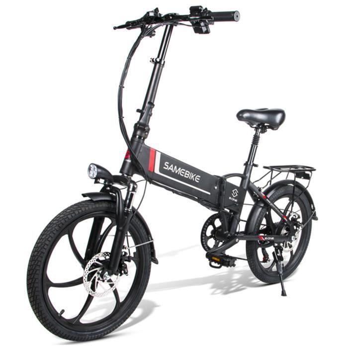 SAMEBIKE 20- vélo pliant électrique 350W vélo de montagne 7S noir 48V 25 km/h pliant Ebike LCD USB