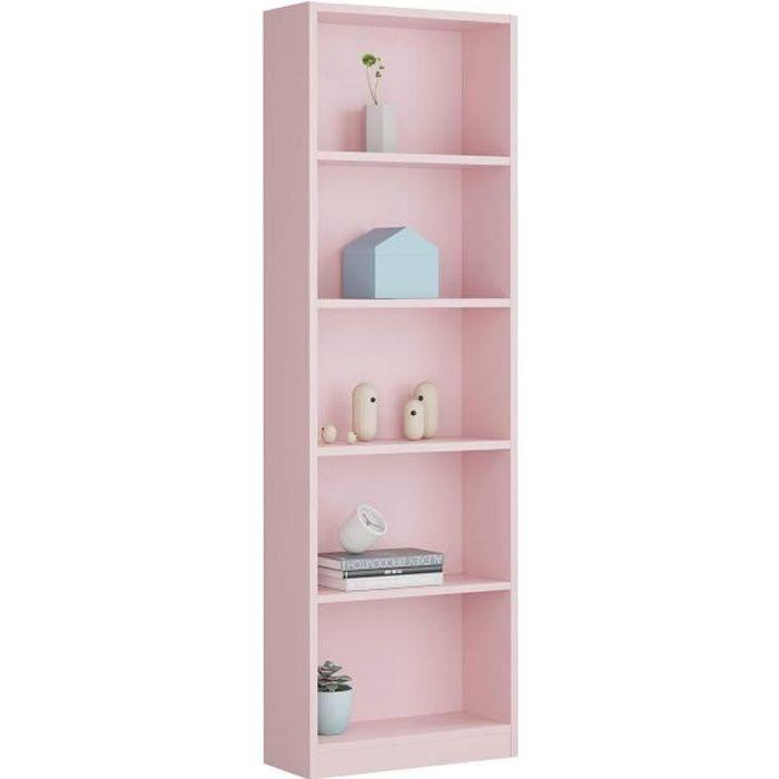 Miroytengo étagère juvénile Rose Pastel Bibliothèque Enfant 5étagères 52x 25x 180cm