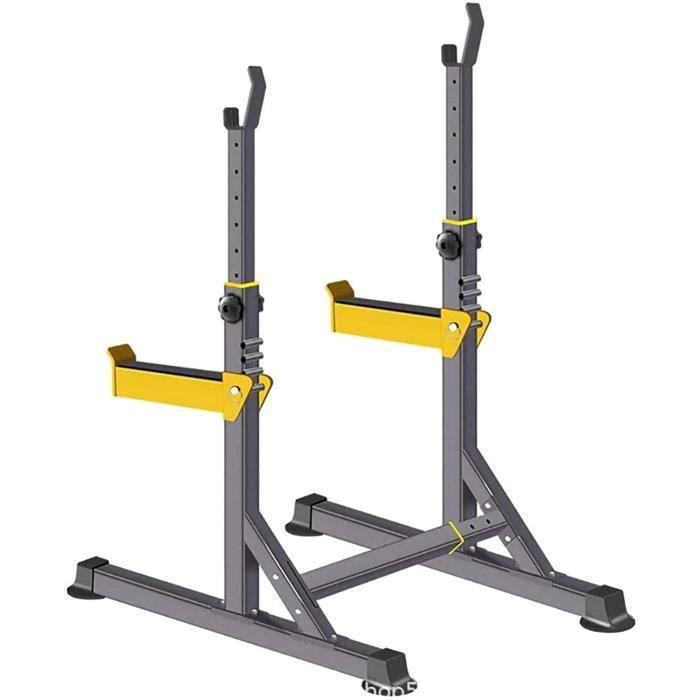 BANC DE MUSCULATION R&eacuteglable Squat Rack,Strength Training Stand,Multifonction Barbell Banc Presse Rack,pour la Musculat284