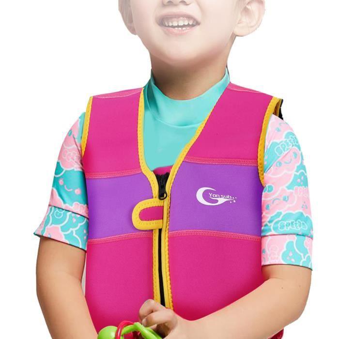 Veste de gilet de bain pour enfants de 1 à 6 ans (rose M)-YID