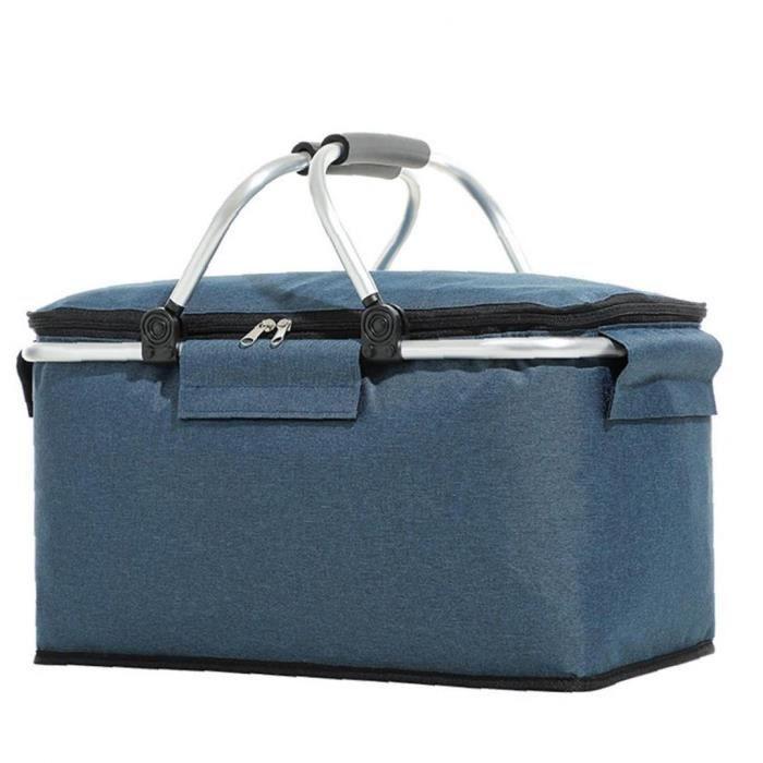 Pique-nique Glacière Portable Isotherme Pliable Lunch Bag Grand panier de sac fantaisie Set bleu marine