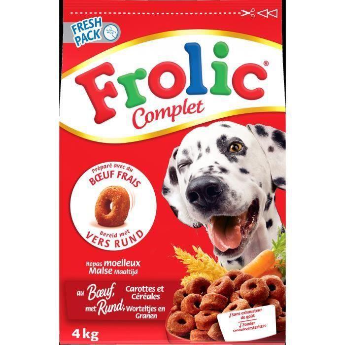 [LOT DE 2] FROLIC Croquettes complètes - Au bœuf frais, carottes et céréales - Pour chien - 1,5 kg